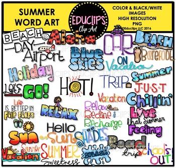 Summer Words Clip Art Bundle {Educlips Clipart}.