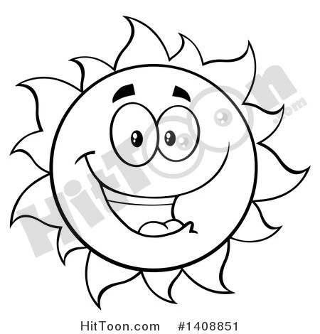 Sun Clipart #1408851: Black and White Lineart Summer Time.