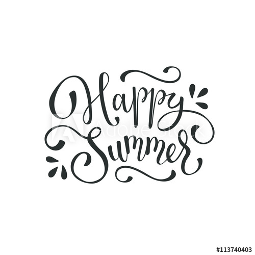 Happy summer wording isolated on white background. Summer.
