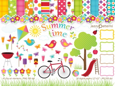 Summer clip art and digital paper pack Summertime.