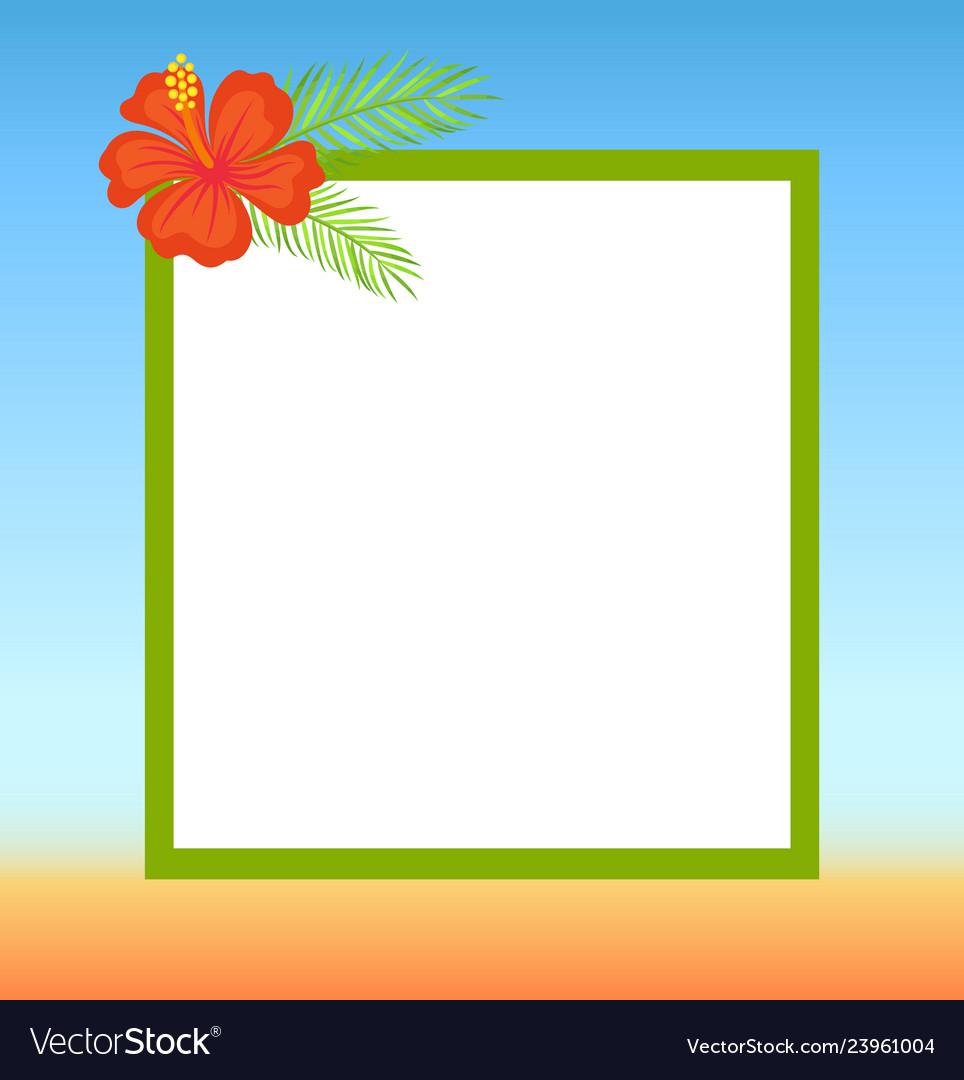 Frame topped by red flower summertime border.
