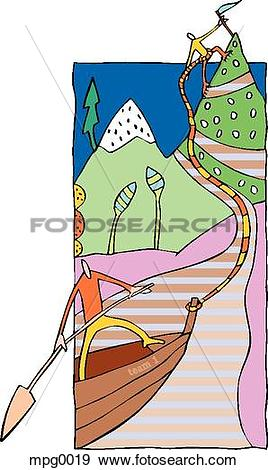 Stock Illustration of Two people working together to reach the.