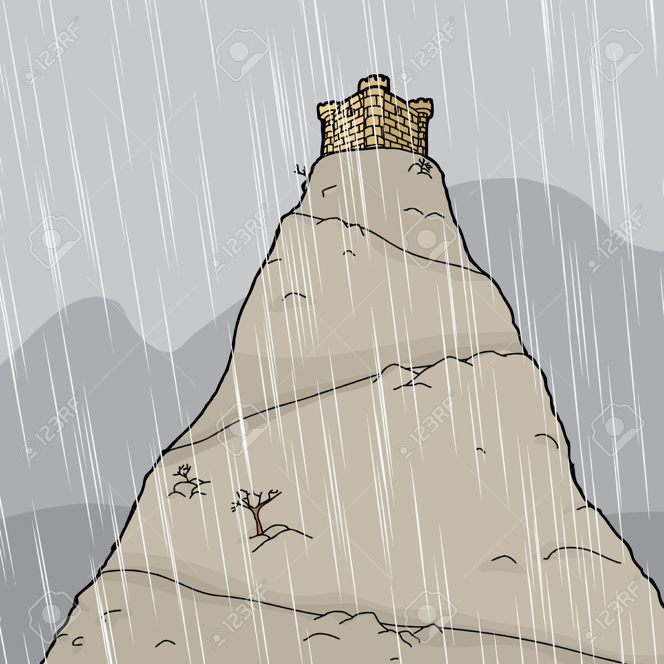 Cartoon Castle On Mountain Summit In Thunderstorm Royalty Free.