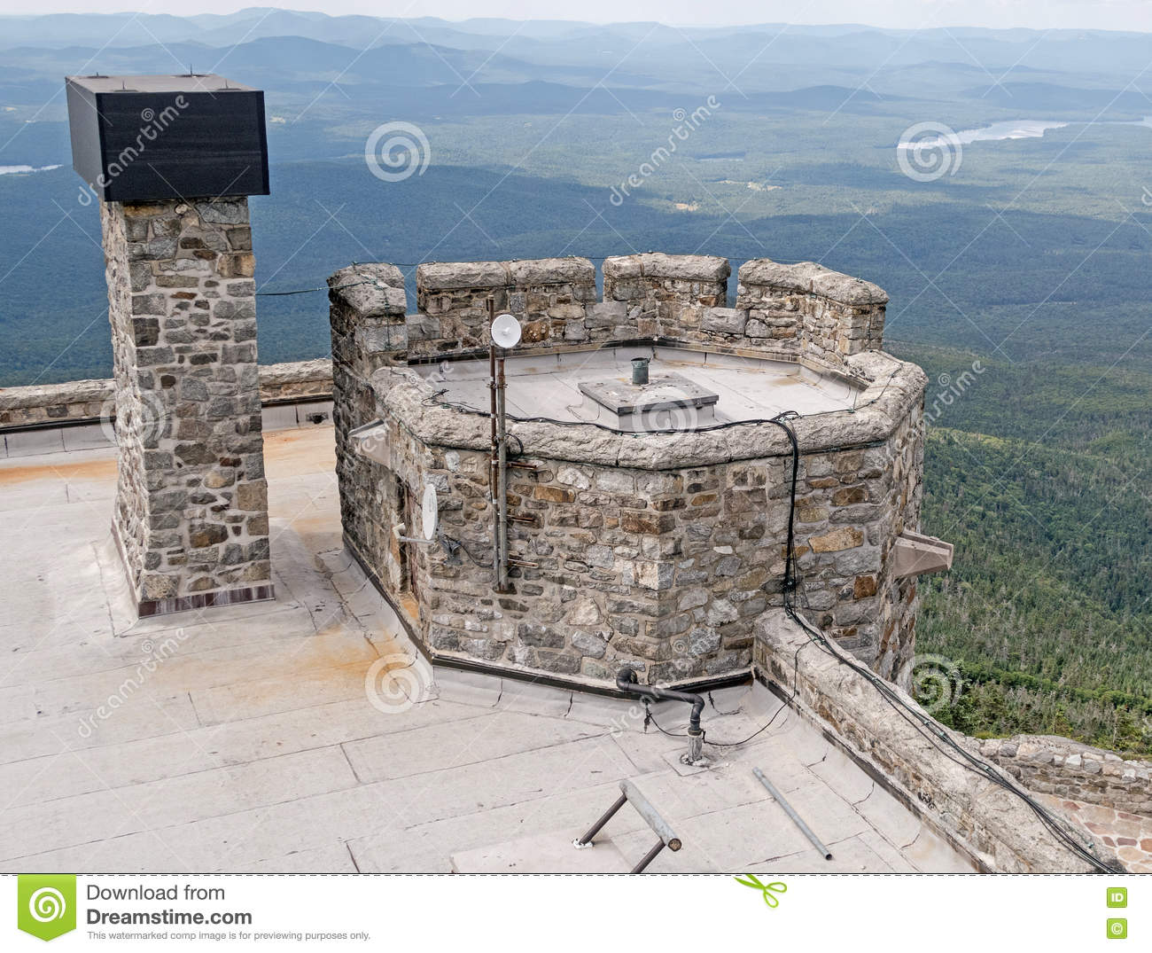 Whiteface Mountain Top Stone Castle Editorial Photography.