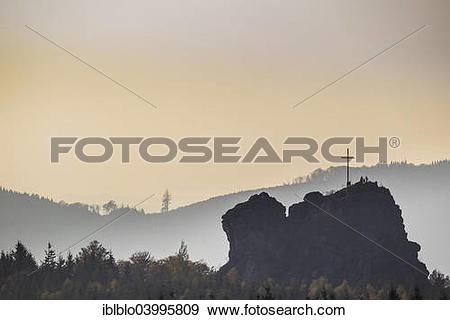 """Stock Photograph of """"Bruchhauser Steine rocks with a group of."""