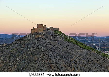Stock Image of Aerial view of a old castle in Almeria, Spain.