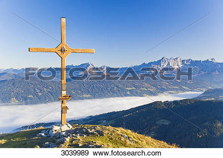 Stock Photograph of Summit cross of the Lackenkogel, Austria.