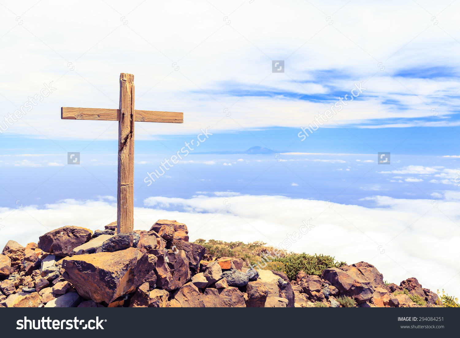 Christian Wooden Cross On Mountain Top Stock Photo 294084251.