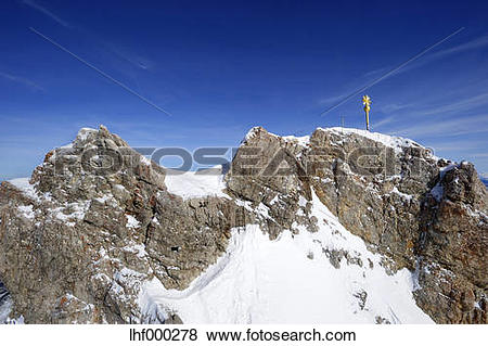 Pictures of Germany, Bavaria, View of summit cross at Zugspitze.