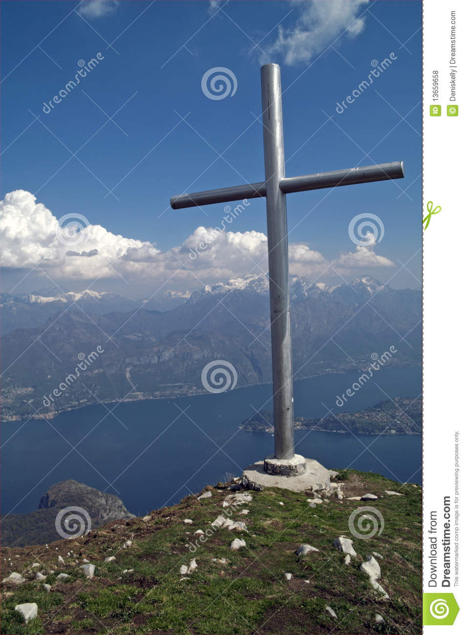 Mountain Summit Cross With Lake View, Italy Royalty Free Stock.
