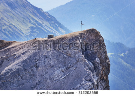 Man Standing On Mountain Summit Stock Photo 212961208.