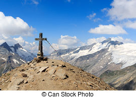 Picture of Summit cross and prayer flag on mountain Kreuzspitze in.