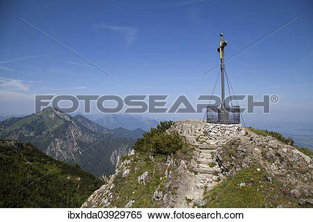 "Stock Image of ""The summit cross of MtHochfelln from 1886."