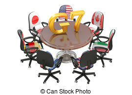 Drawings of G7 Summit Group of 7 isolated on white background.