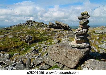 Stock Image of England, Cornwall, Bodmin Moor. A pile of stones at.