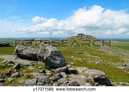 Stock Image of England, Cornwall, Bodmin Moor. The rocky summit of.