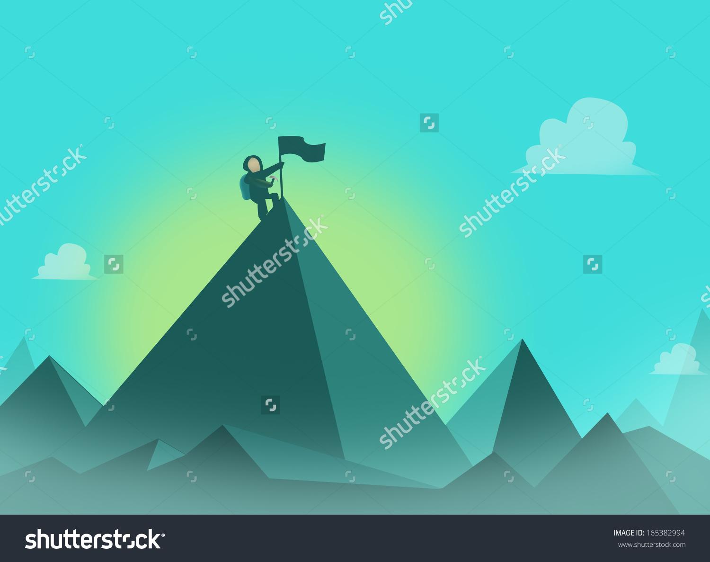 Mountaineer Flag Summit Mountaineering Concept Illustration Stock.