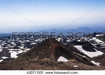 Stock Photography of Mount Etna peak with snow and volcanic rocks.