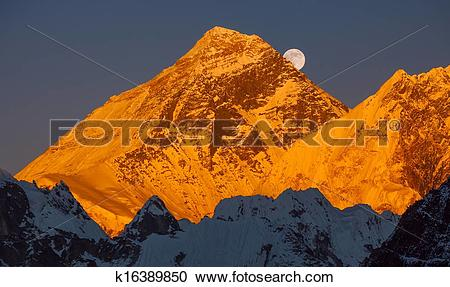 Stock Photography of Gold pyramid of Mount Everest (8848 m) at.