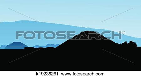Clipart of Teotihuacan Pyramids k19235261.