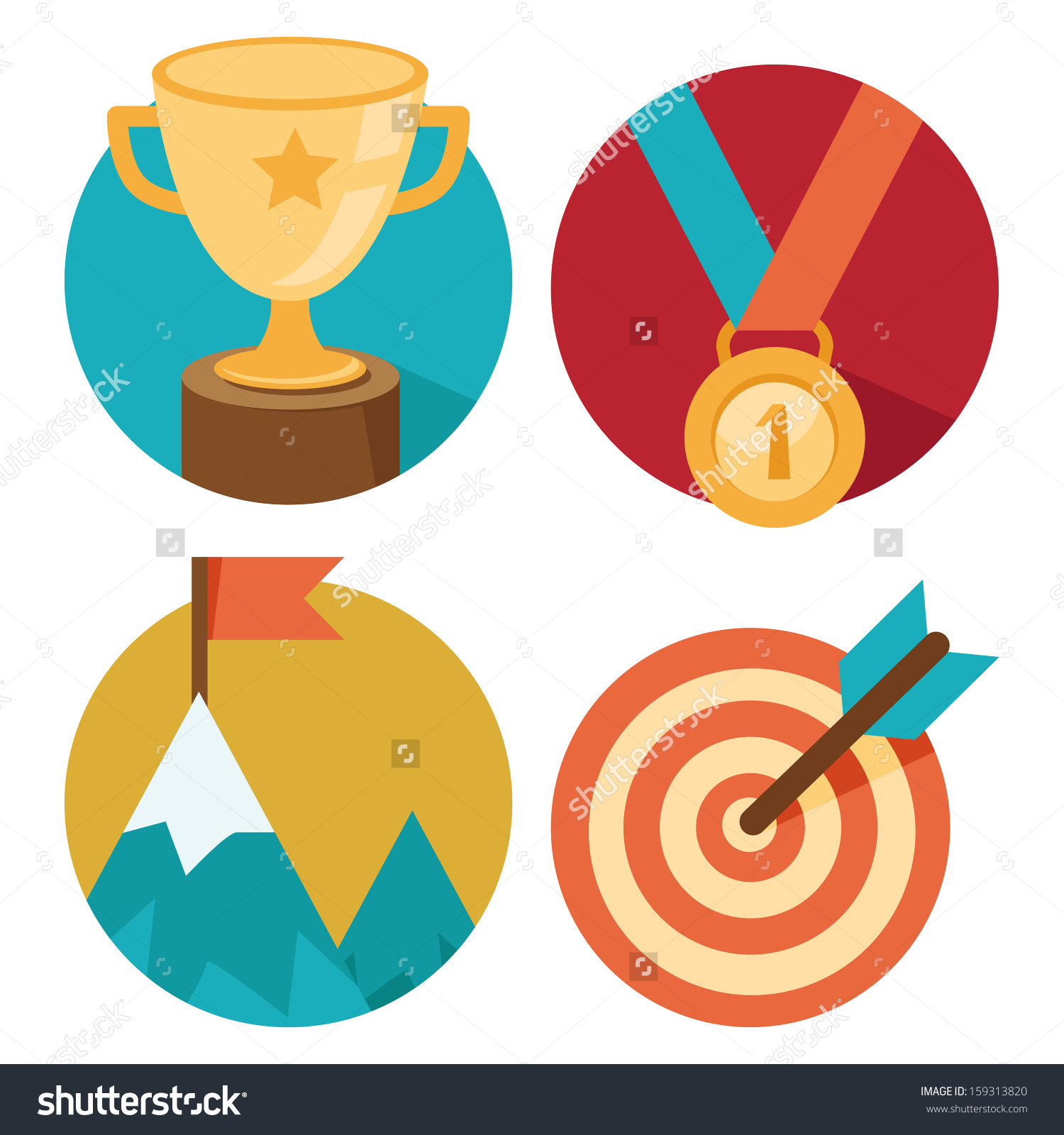 Vector Success Concepts Bowl Goal Medal Stock Vector 159313820.