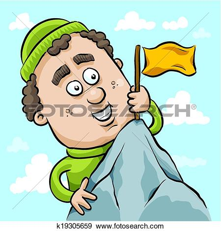 Clip Art of Flag at the Summit k19305659.