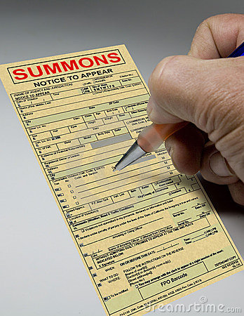 Summons Ticket To Court Stock Photo.