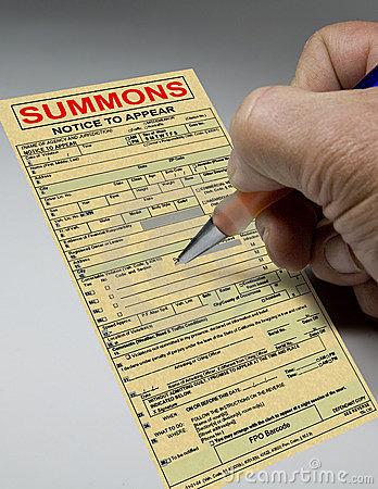 Summons Ticket To Court Stock Photo.