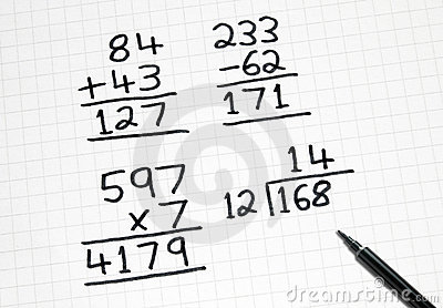 Writing Simple Maths Sums On Square Paper. Stock Photos.