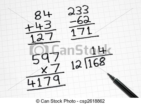 Stock Photo of Writing simple maths sums on square paper.