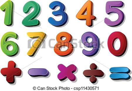 Vectors Illustration of numbers and maths symbols.