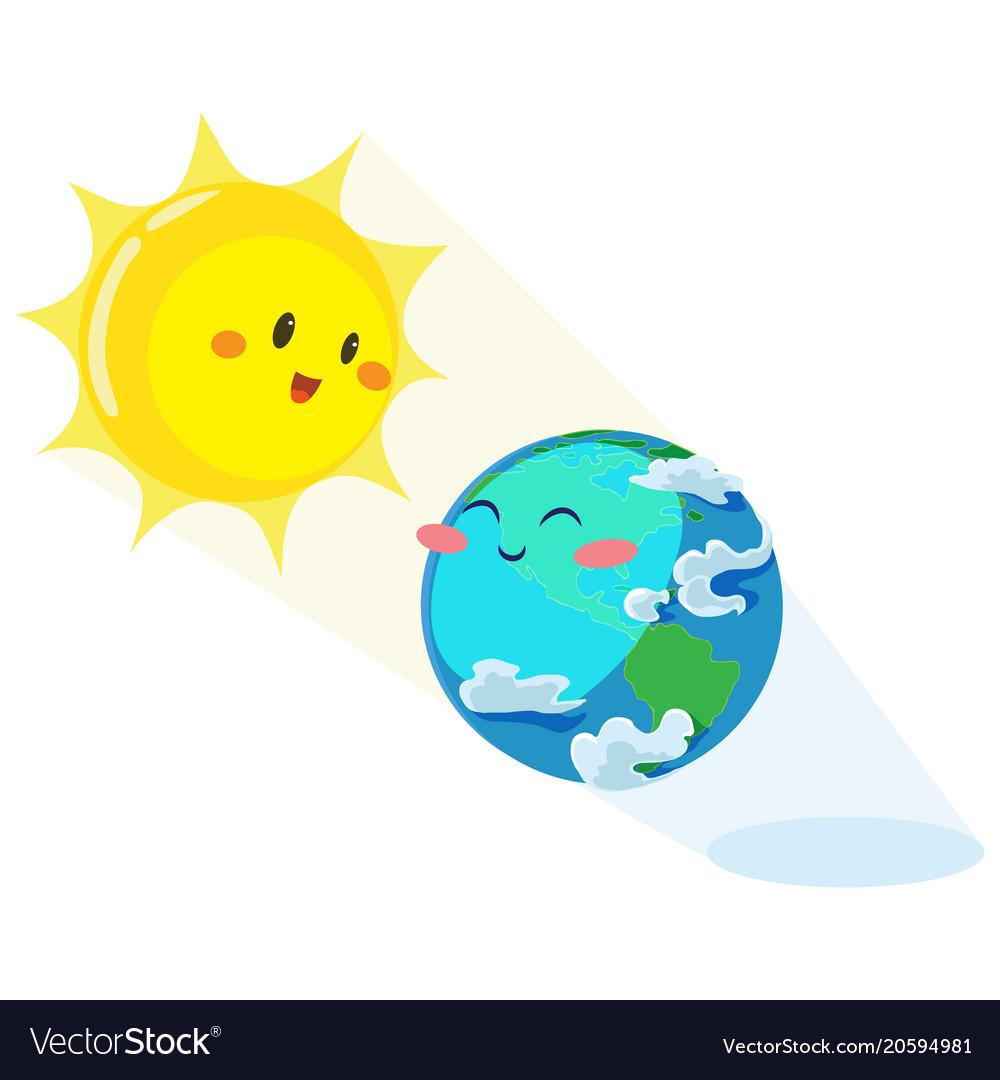 Earth day happy sun heats earth with its yellow.