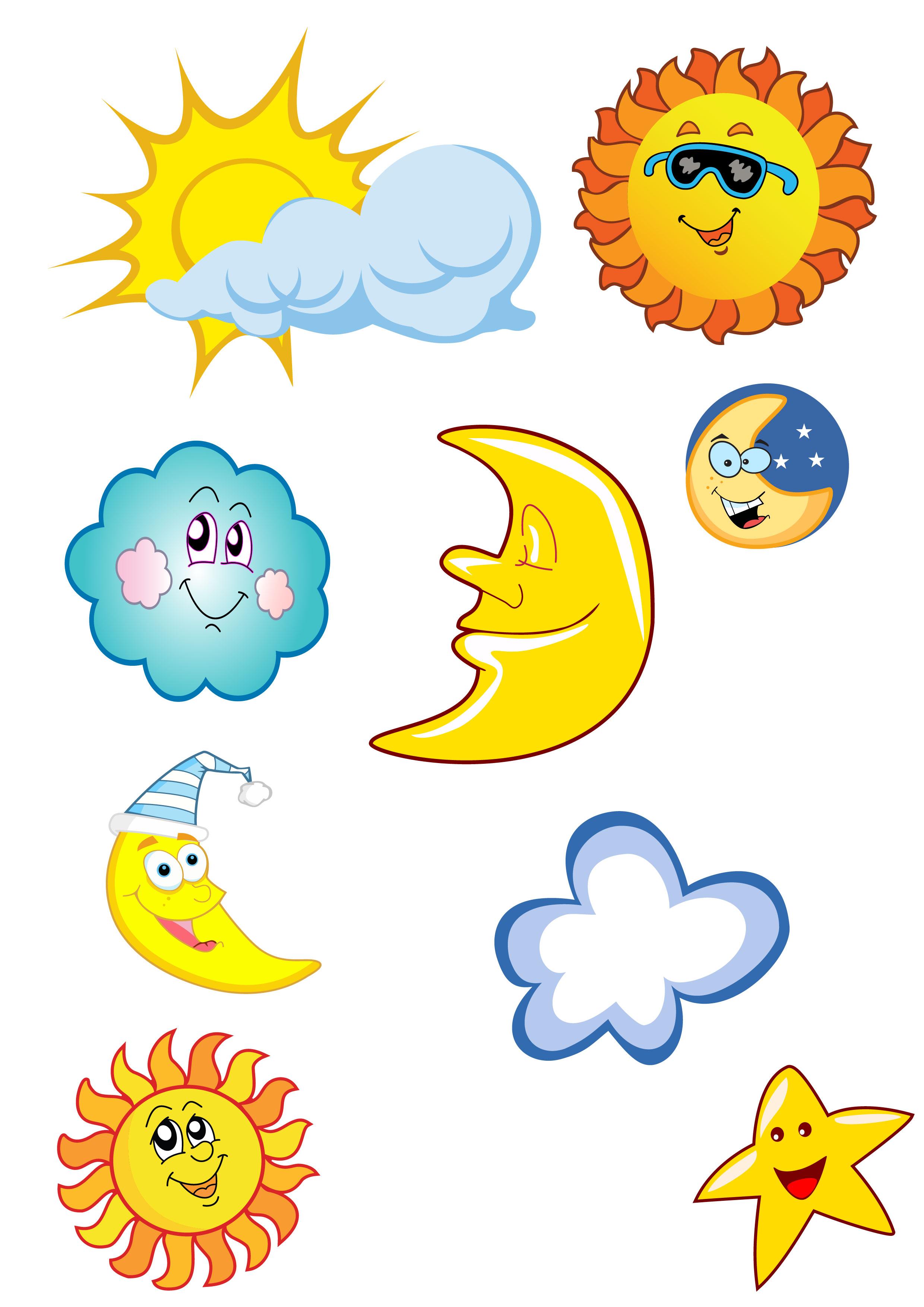 Cartoon Sun Moon Stars clipart free image.