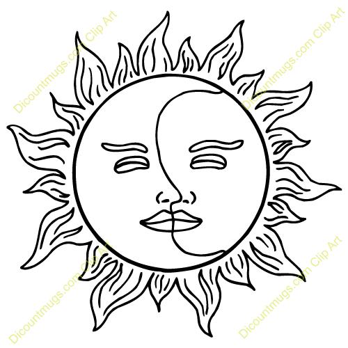 Clipart Half Moon Face Clipart Sun And Moon Clipart Blue.