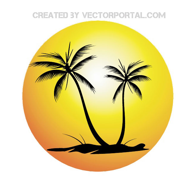 SUN AND PALM TREES VECTOR.