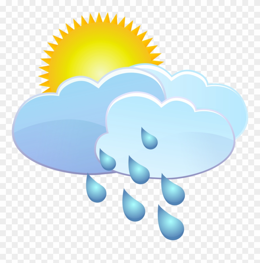 Clouds Sun And Rain Drops Weather Icon Png Clip Art.