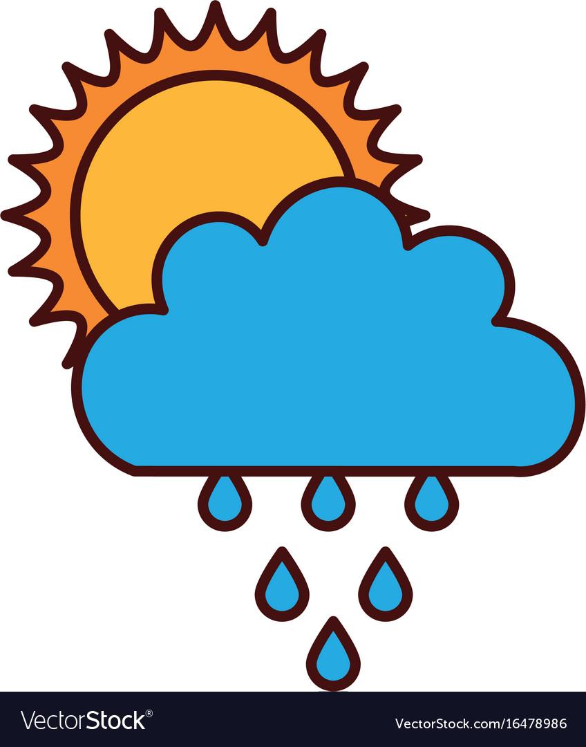 Beautiful fantasy cloud with sun and rain drops.