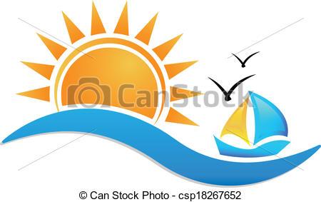 Clipart Vector of Ship sun and sea icon logo.