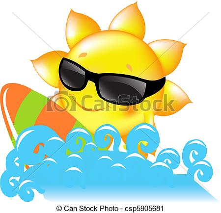 Vector Clip Art of Sun And Sea.