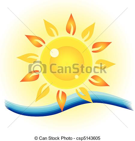 Clipart Vector of sun eye with sea illustration csp5143605.
