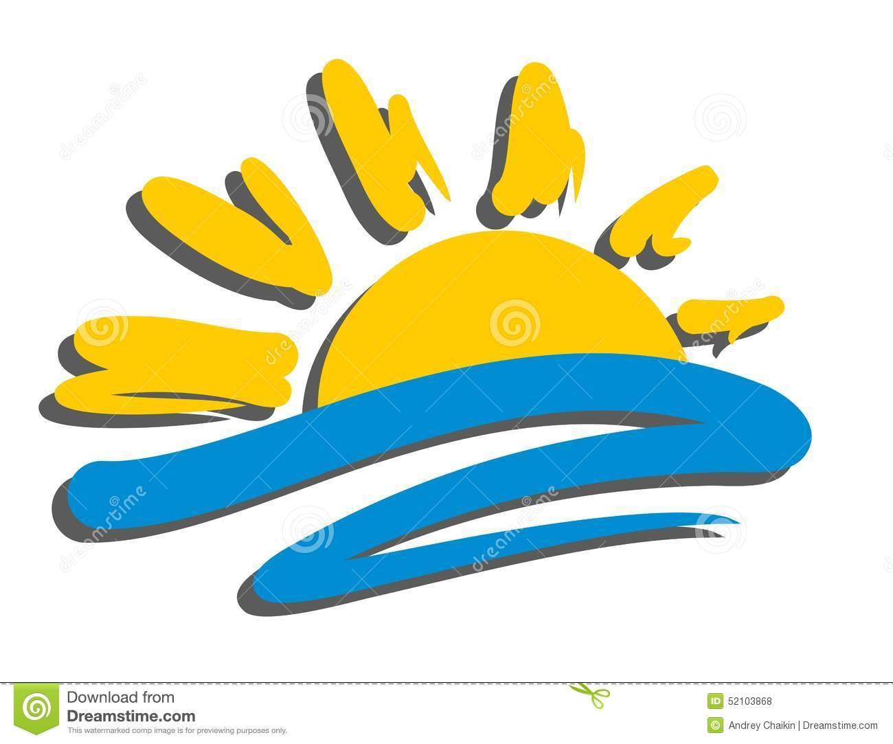 Sun Sea Logo Stock Photos.