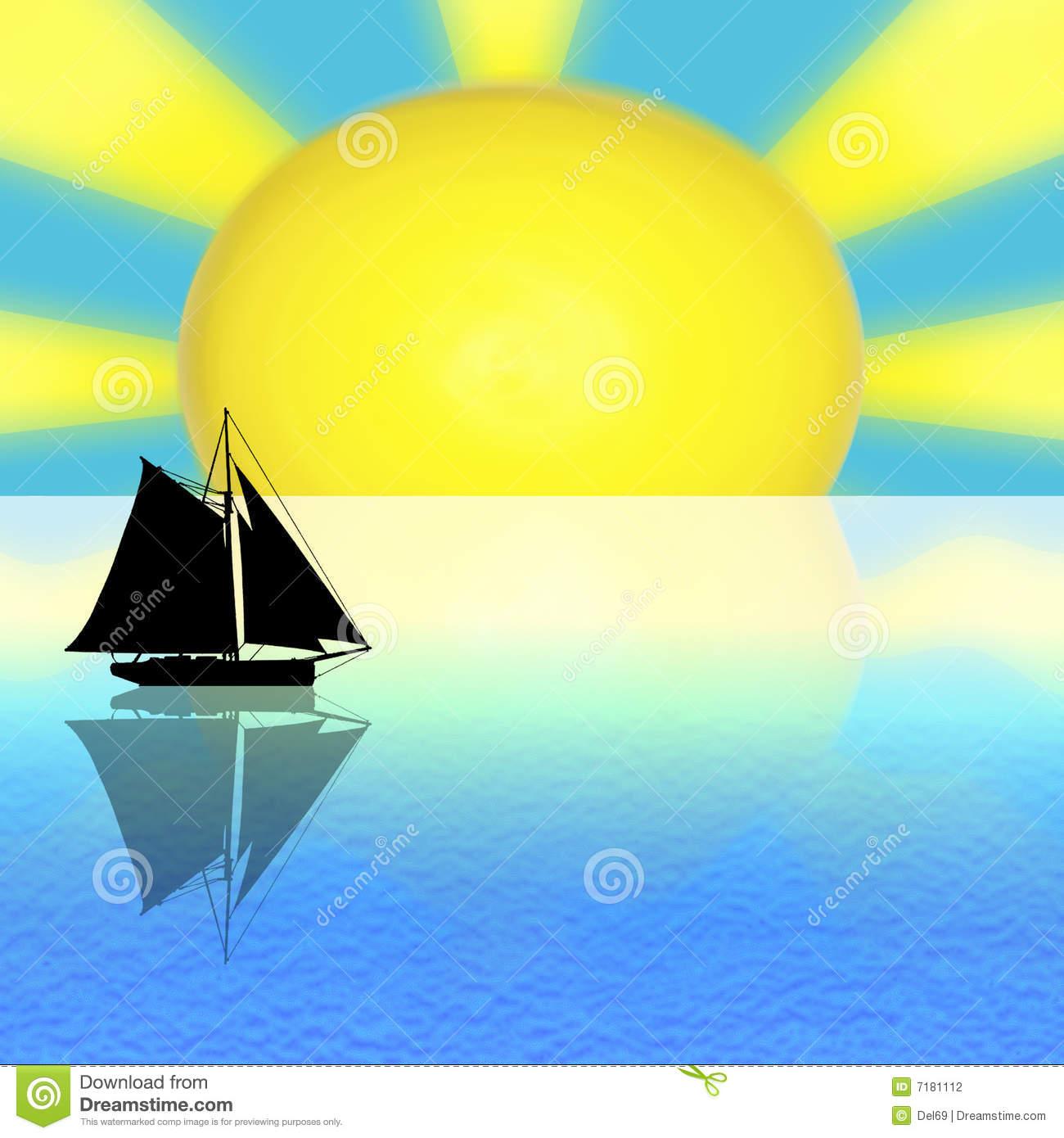 Sun and sea clipart.