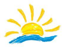 Logos Sun And Sea. Stock Vector.