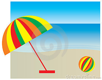 Colorful Sunshade And Ball At The Beach Stock Images.