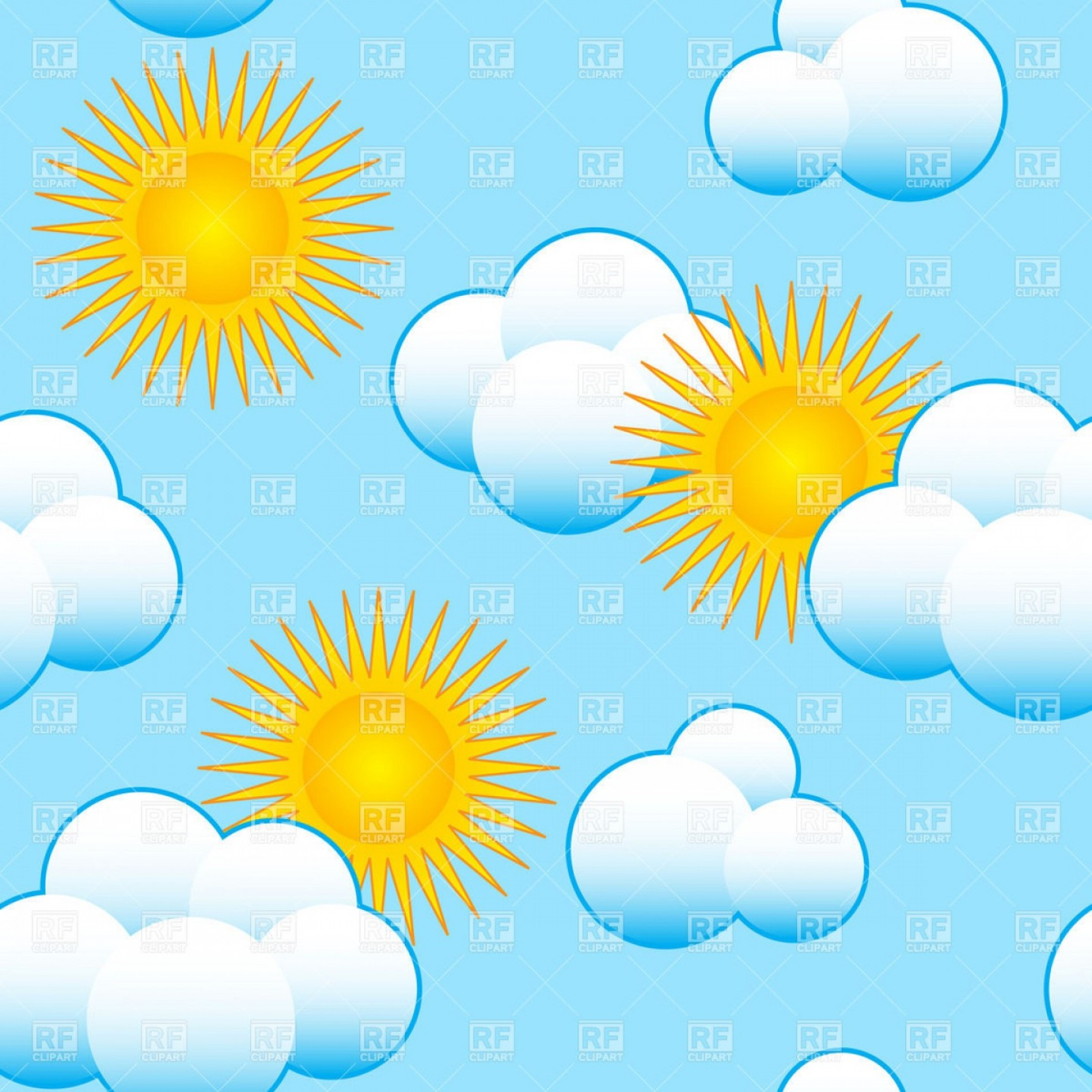 Seamless Blue Sky Background With Clouds And Sun Vector.