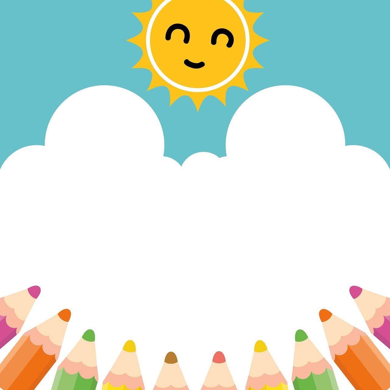 Pencil,sun,sky,clipart,cute.