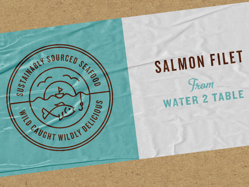 Sun Basket Seafood Label by Kyle Anthony Miller for Brass.