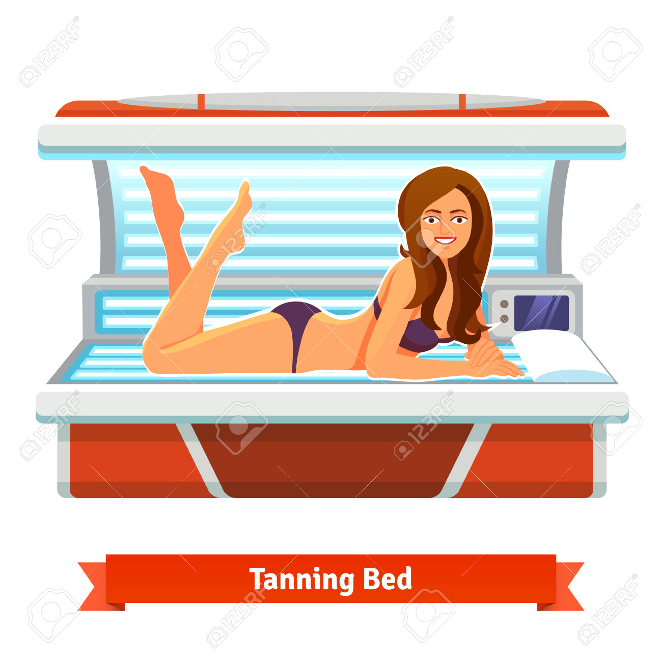 Young Pretty Woman In Tanning Bed. Artificial Tan. Flat Style.