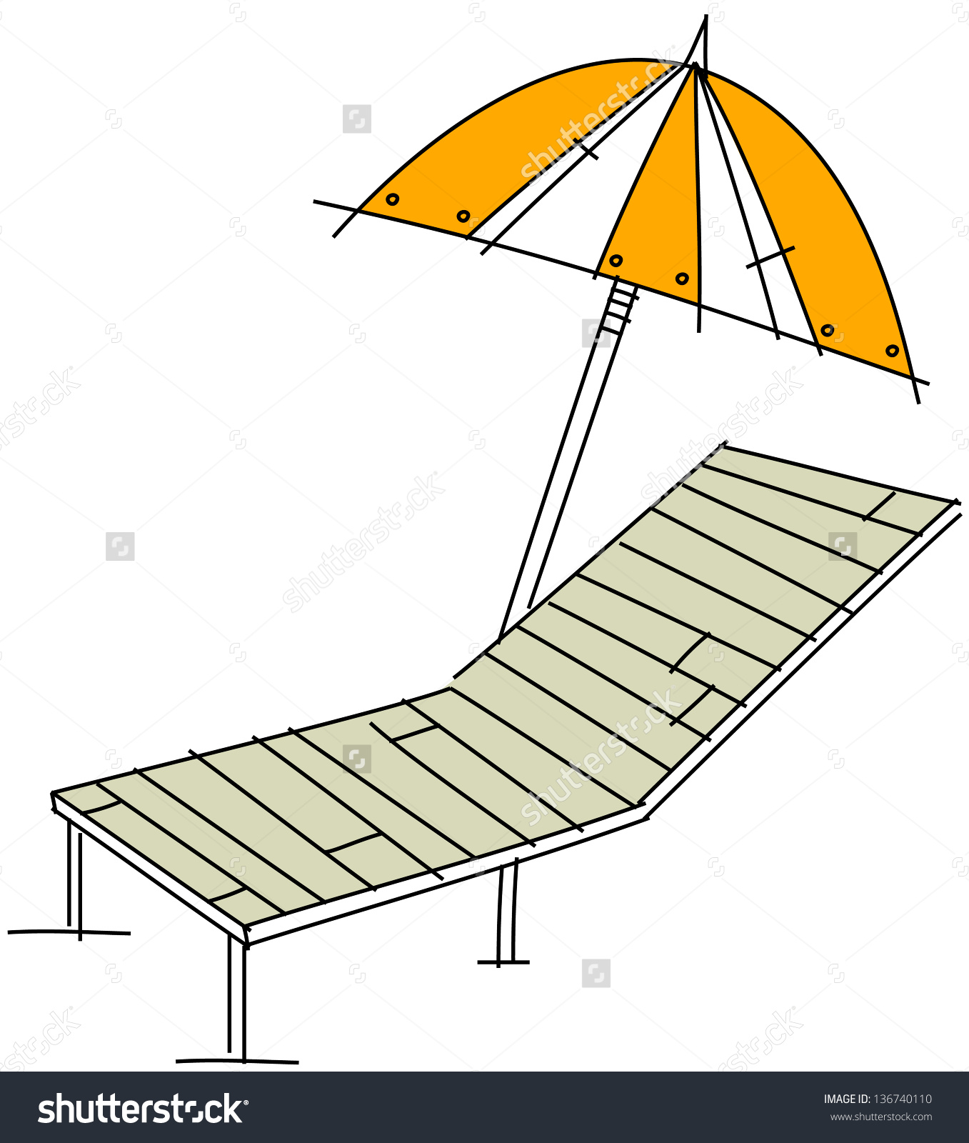 Vector Illustration Of A Parasol And A Sunbed.