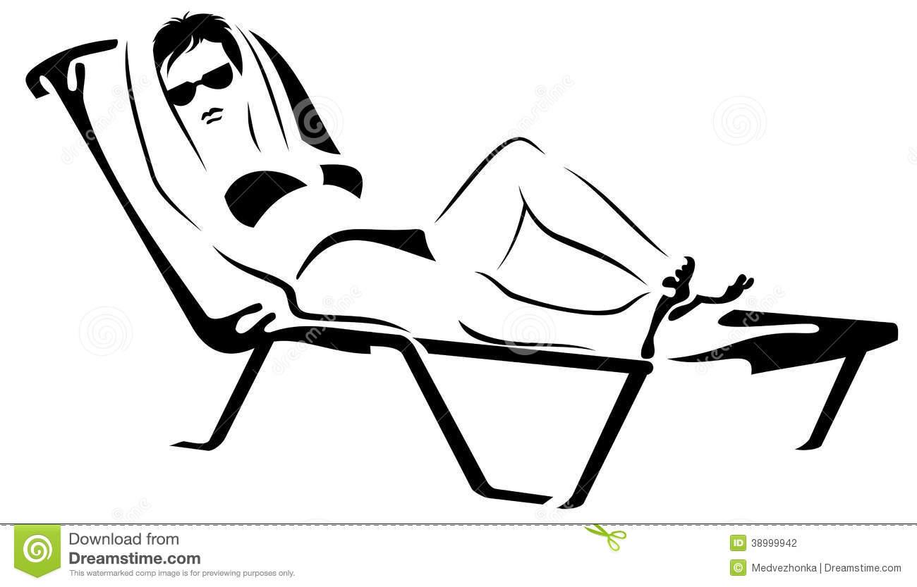 Girl On The Sunbed Stock Illustration.